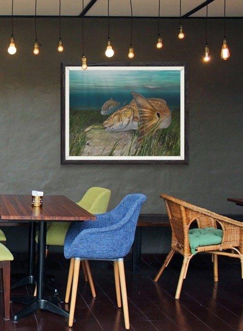 Framed redfish painting