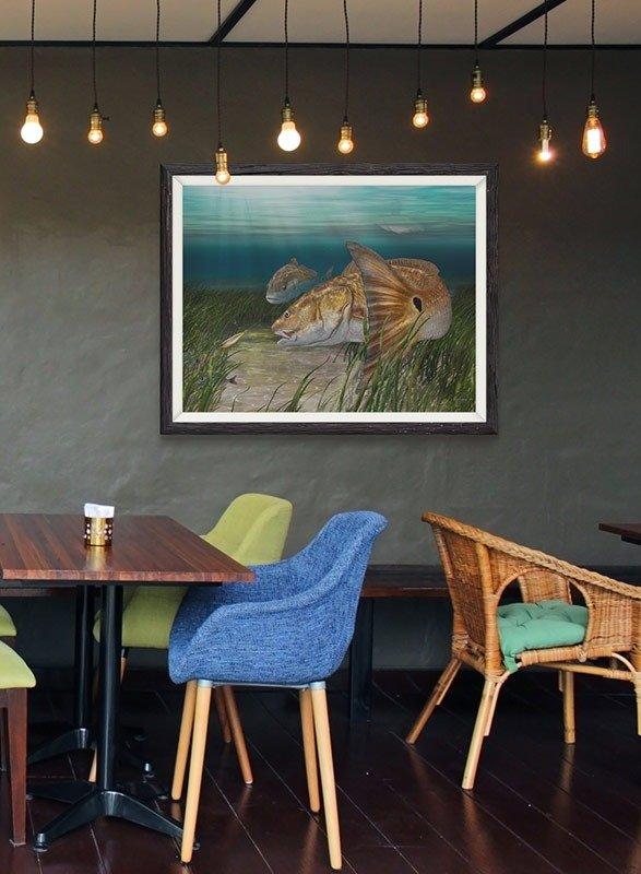Marine life fine art for restaurant decor