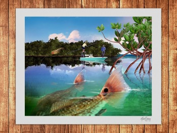 Redfish tailing limited edition fine art print