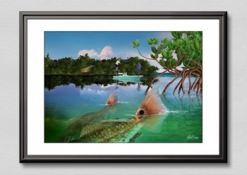 Redfish gift art print framed Florida