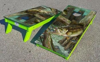 Largemouth bass cornhole boards