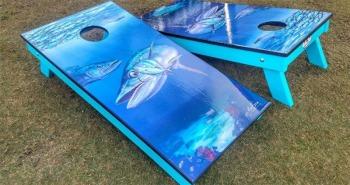 Kingfish art cornhole boards