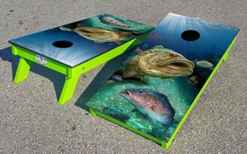 Grouper themed corn hole board set