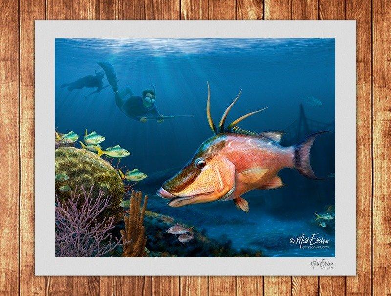 Hogfish spear fishing art print gift