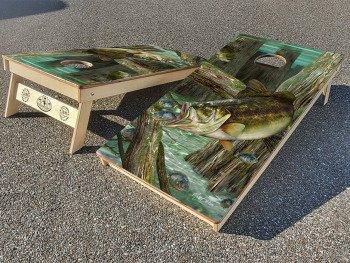 Largemouth Bass cornhole board set