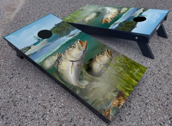 Speckled trout custom corhole board set