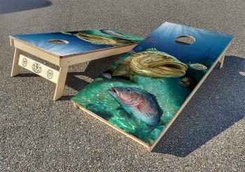 Grouper and mango snapper cornhole board set