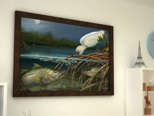 Snook fishing framed painting for snook anglers