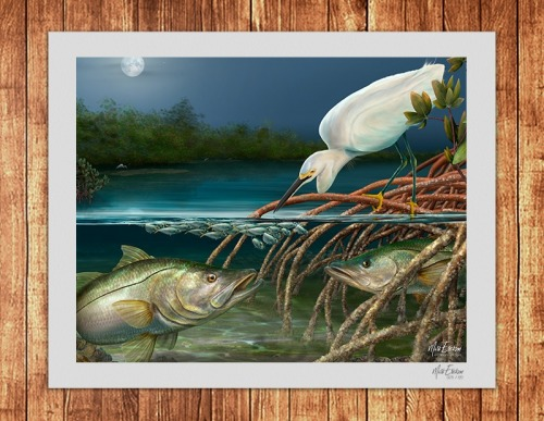 Snook and Egret limited edition art