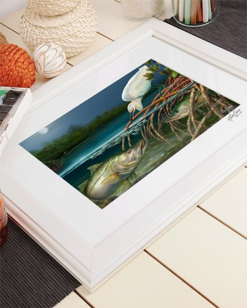 Snook and egret fine art in frame