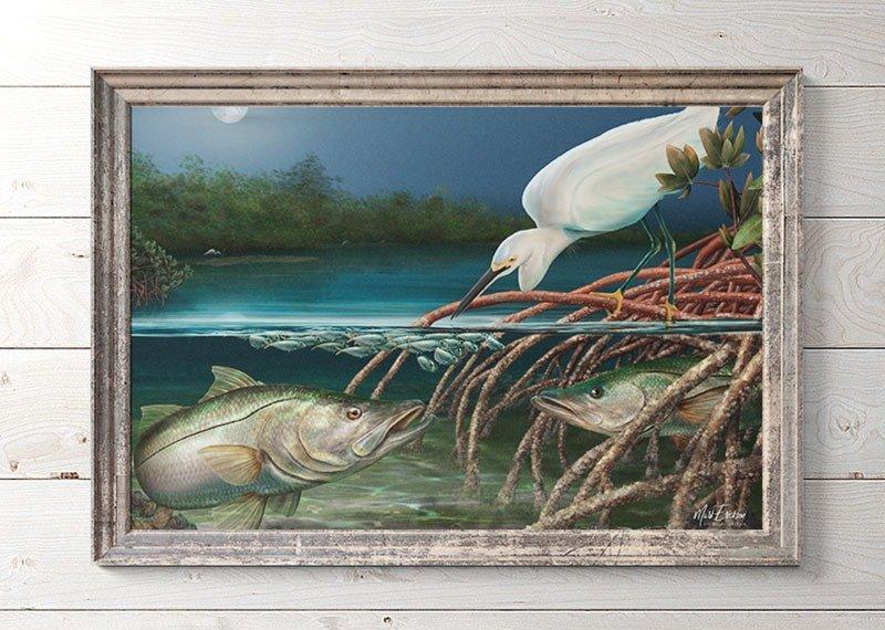 Snook fishing art gift for snook fishermen