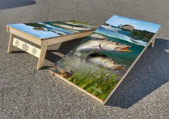 Speckled trout cornhole board set