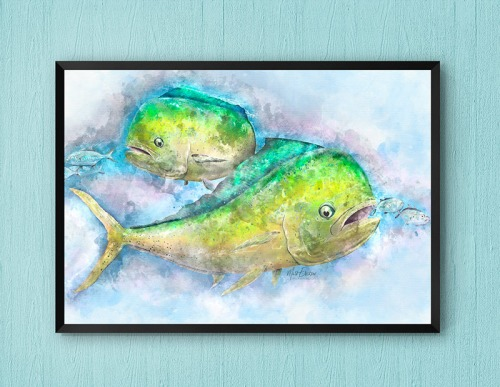 Mahi Mahi watercolor art gift