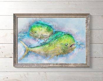 Mahi mahi watercolor digital artwork