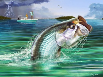 Tarpon fly fishing art print