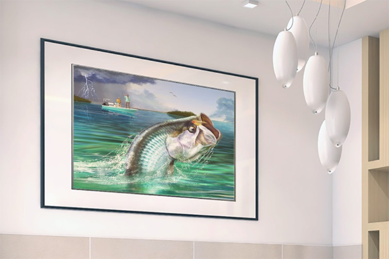 Tarpon fishing print framed