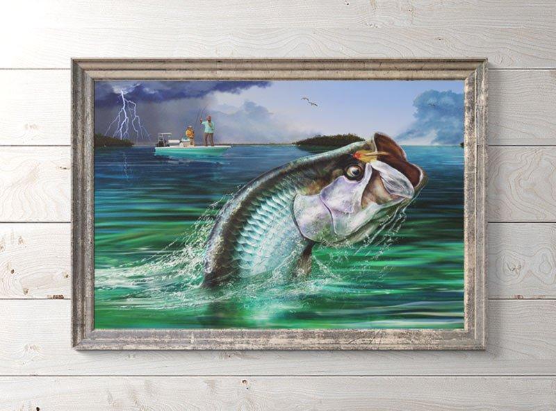 Fly fishing for tarpon art framed