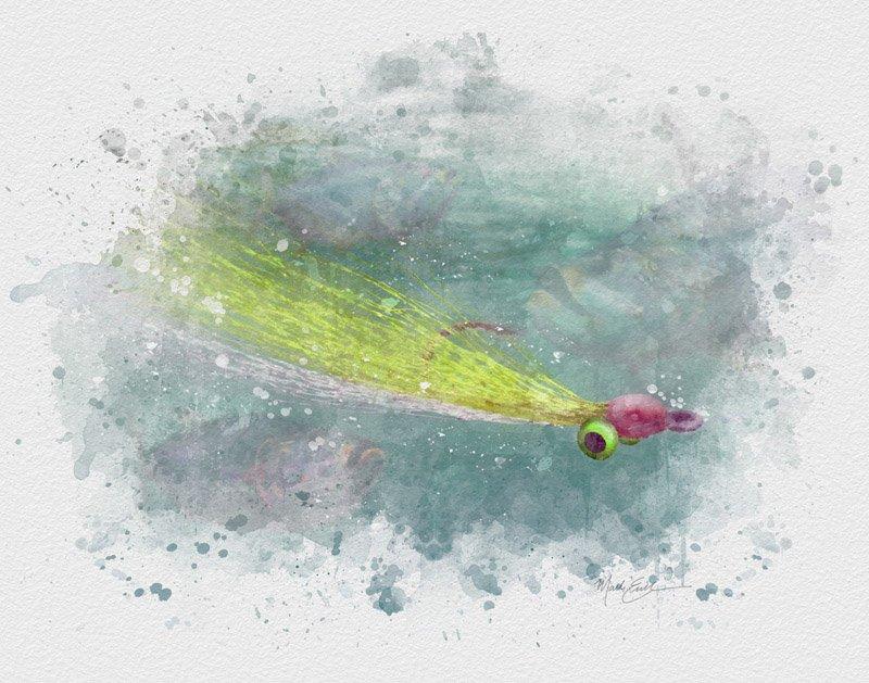 Clouser deep minnow flyfishing watercolor art