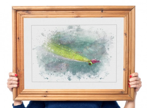 Framed art print of Clouser minnow fly fishing lure