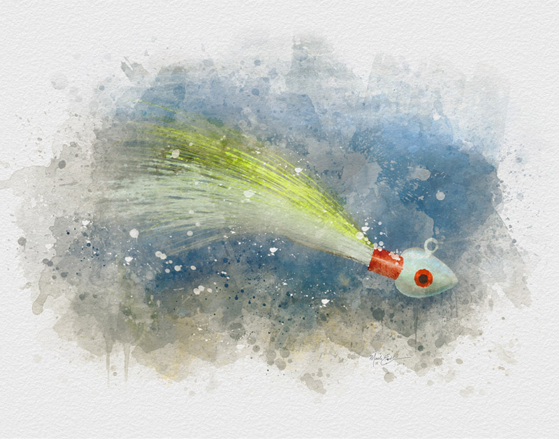 Bucktail jig watercolor fishing art gift