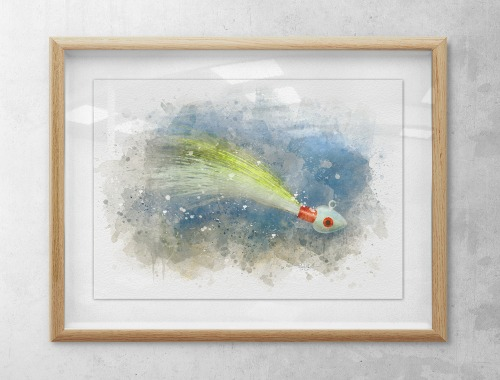 Bucktail jig watercolor fishing art framed
