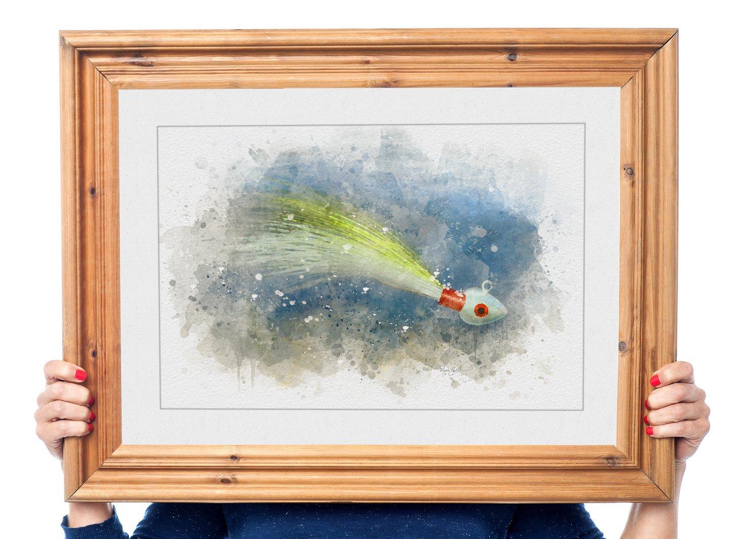 Framed buck tail jig watercolor fishing art