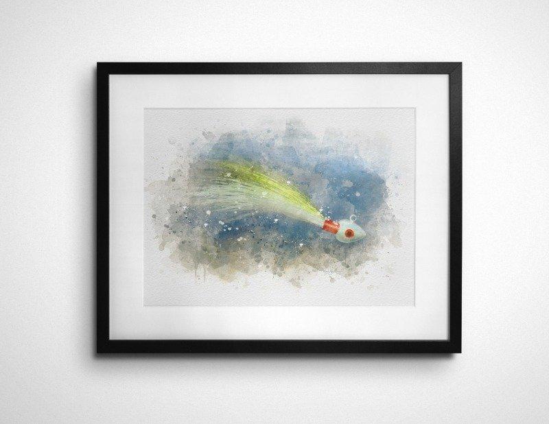 Bucktail jig watercolor art print gift
