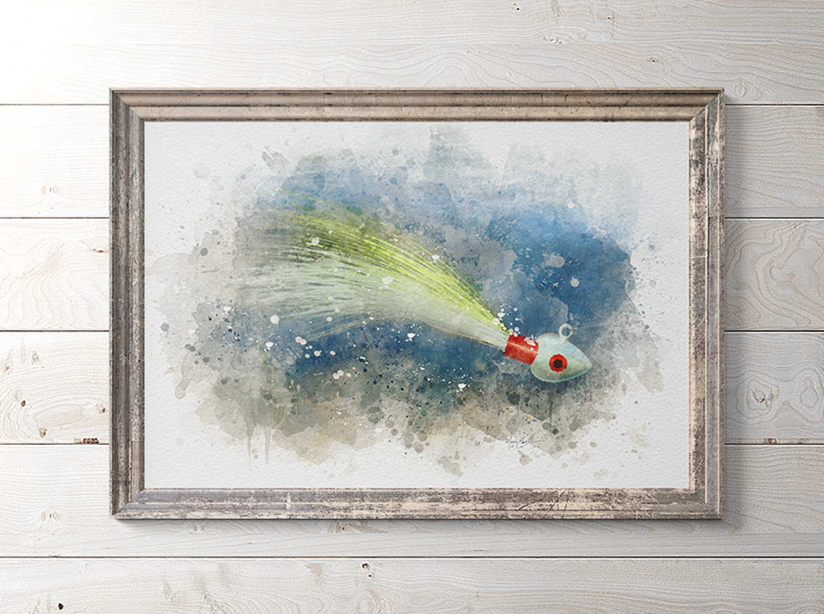 Bucktail Fishing jig art print in frame