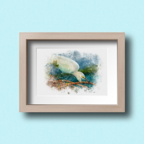 Egret framed print bird art