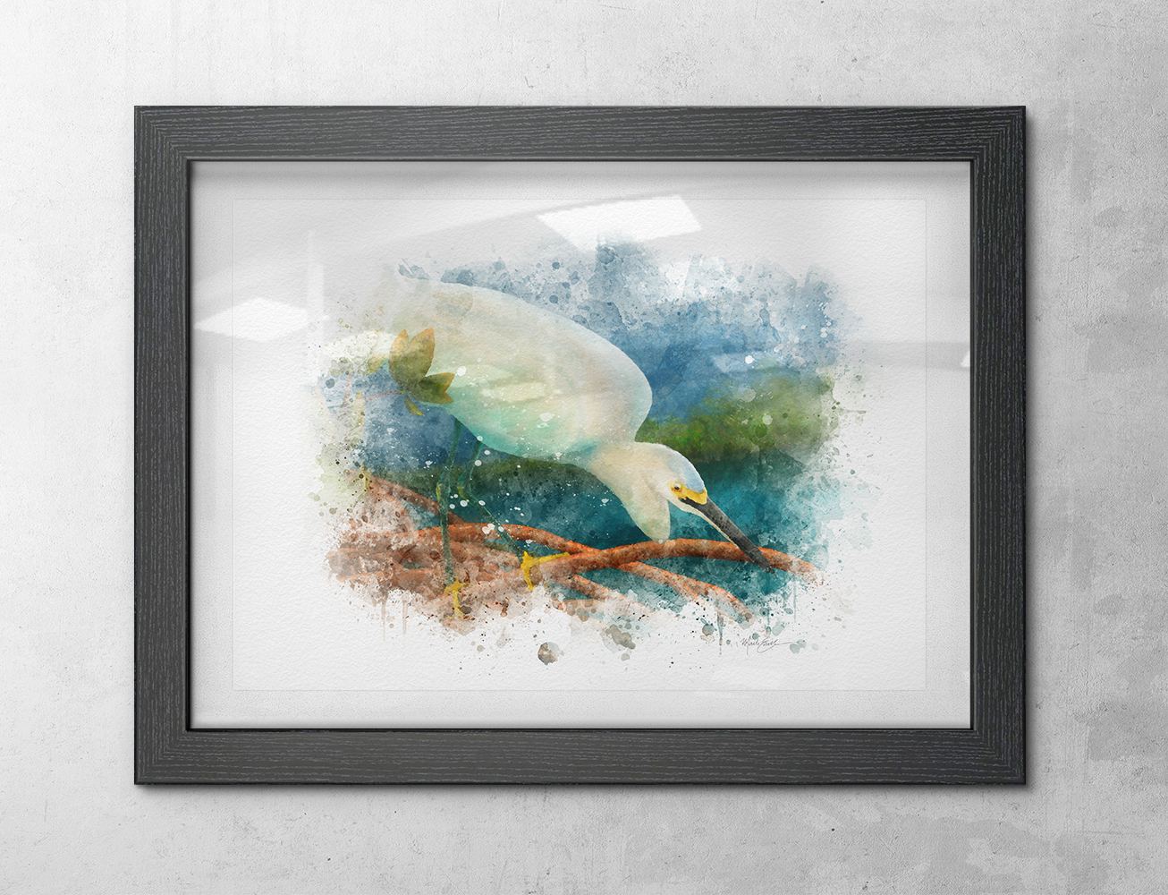 Snowy egret watercolor bird art print