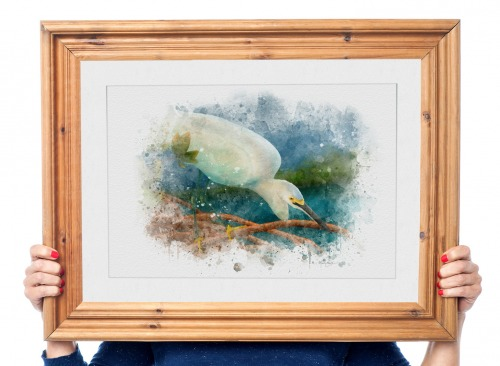 Snowy egret art in wooden frame