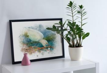 Egret watercolor bird art gift