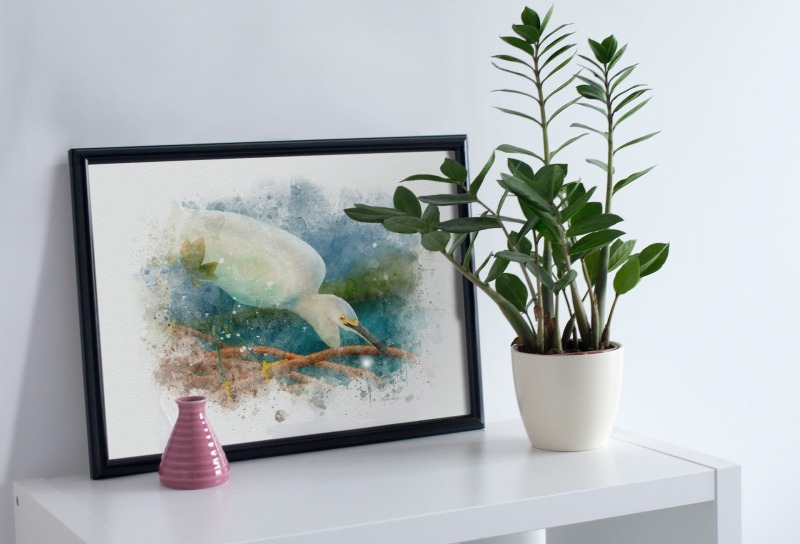 Egret watercolor bird art gift