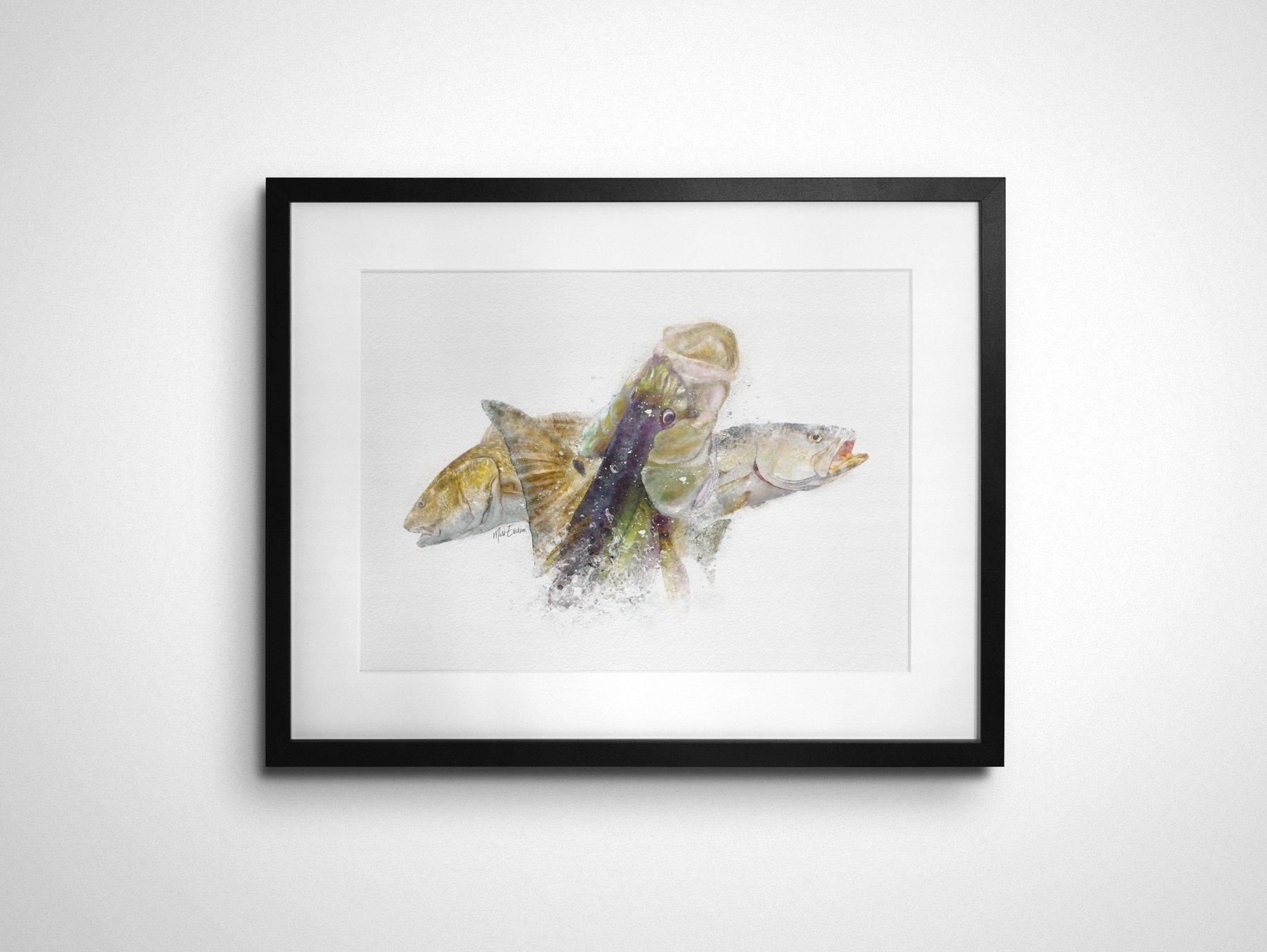 Inshore Slam florida art print of snook, redfish and trout