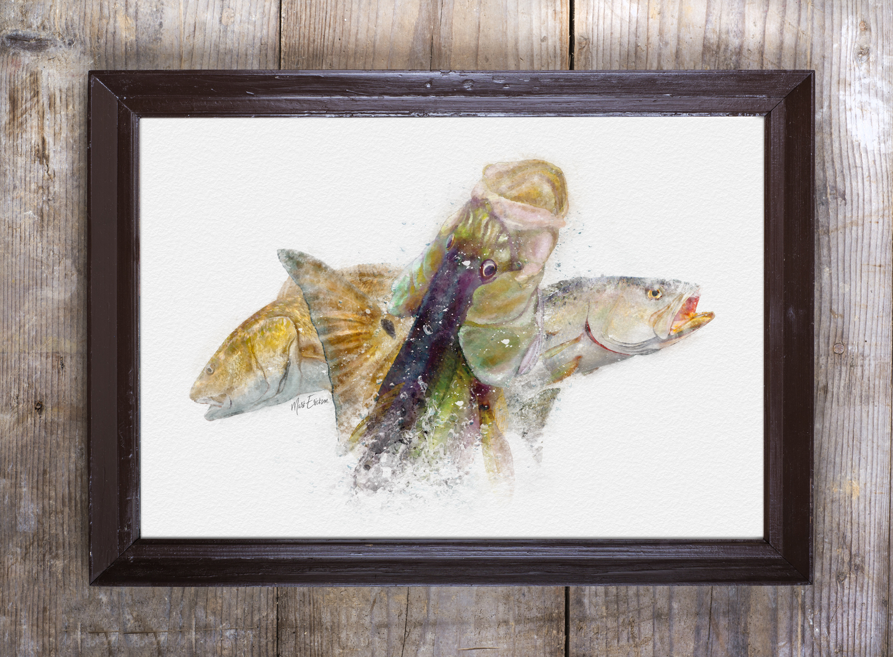 Inshore slam Florida framed art of redfish, snook and trout