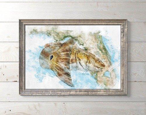 Redfish art print on Florida map framed