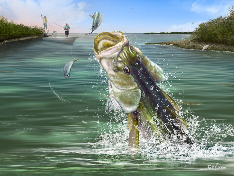 Snook fishing painting wall art print
