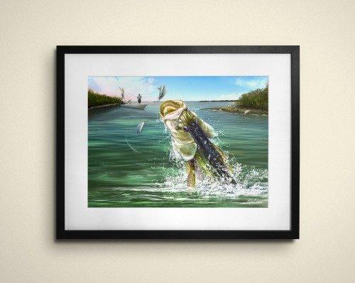 Snook fisherman art gift frame