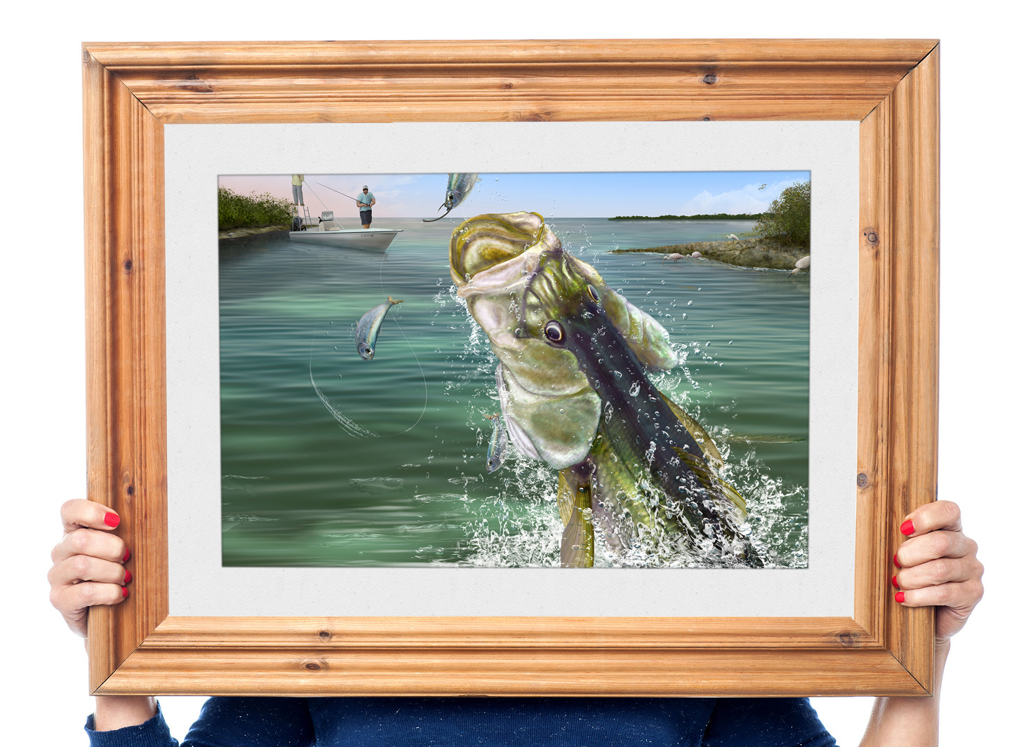 Snook painting in a frame gift for snook fisherman