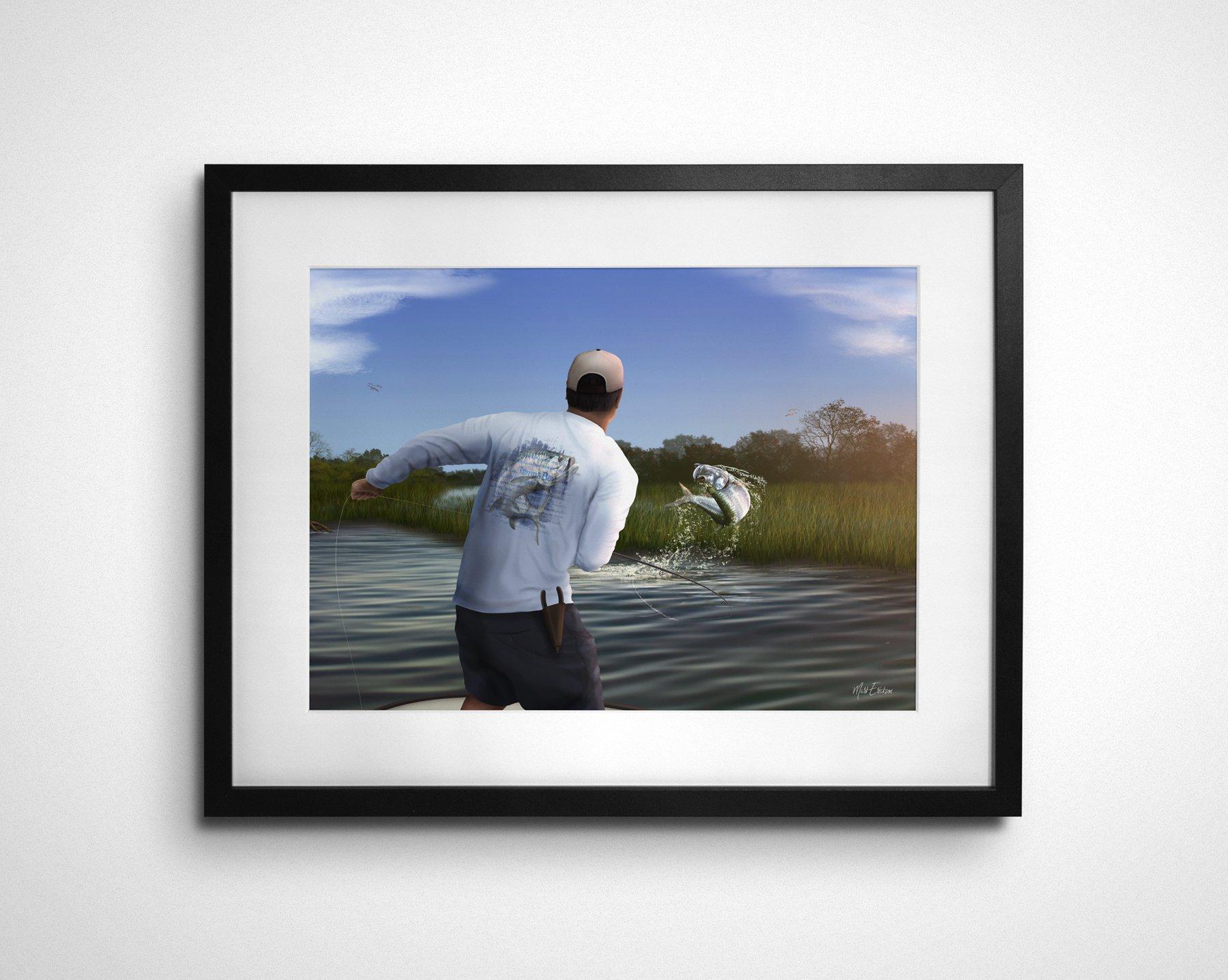 Tarpon fly fishing art print gift for tarpon fisherman