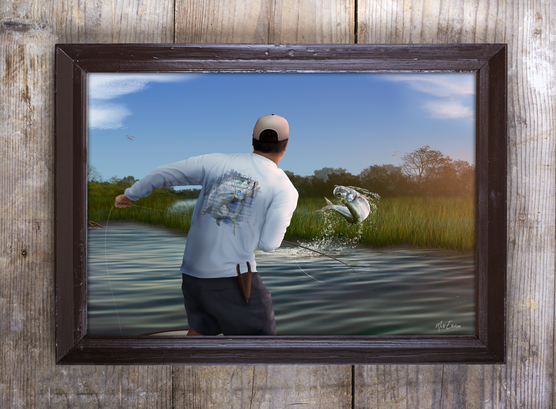 Fly fishing for tarpon painting