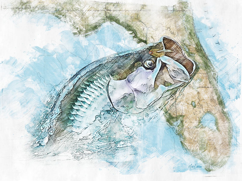 Tarpon and Florida map watercolor art print