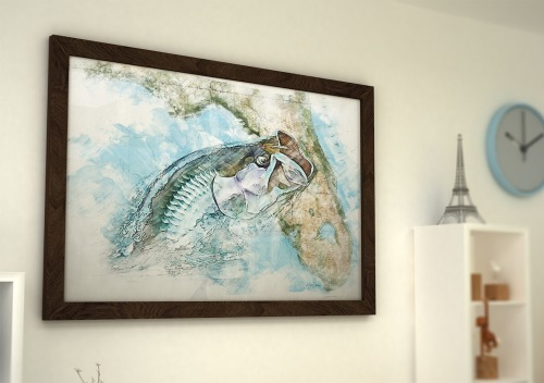 Framed tarpon watercolor over Florida map gift for Florida tarpon fisherman