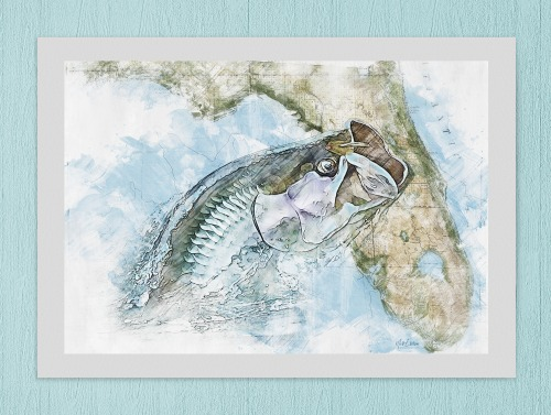 Tarpon art print with Florida map