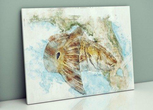 Florida redfish map art print gift for redfish angler