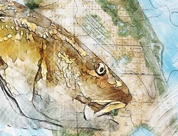 redfish on florida map art gift