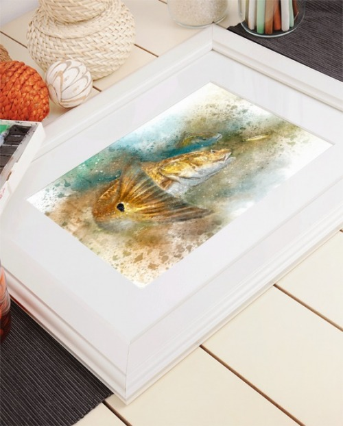 Redfish watercolor in frame fishing gift