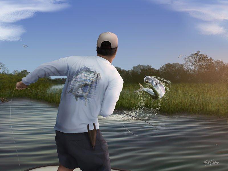 Tarpon fly fishing art gift