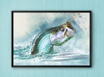 Framed tarpon fly fishing art print