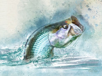 Tarpon fly fishing watercolor art gift for tarpon fisherman